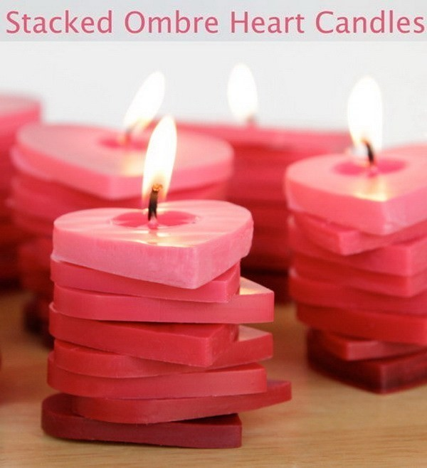 Stacked-Ombre-Heart-Candles Sweet DIY Valentine's Day Decoration Ideas