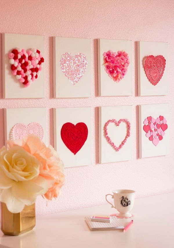 Valentine's-Day-DIY-Canvas-Heart-Art Sweet DIY Valentine's Day Decoration Ideas