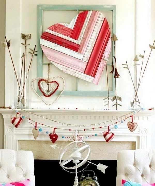 Valentine-Mantel-With-Heart-Art-And-Arrows Sweet DIY Valentine's Day Decoration Ideas