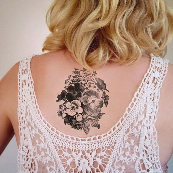 Black-And-White-Violets-Tattoo 60 Awesome Back Tattoo Ideas