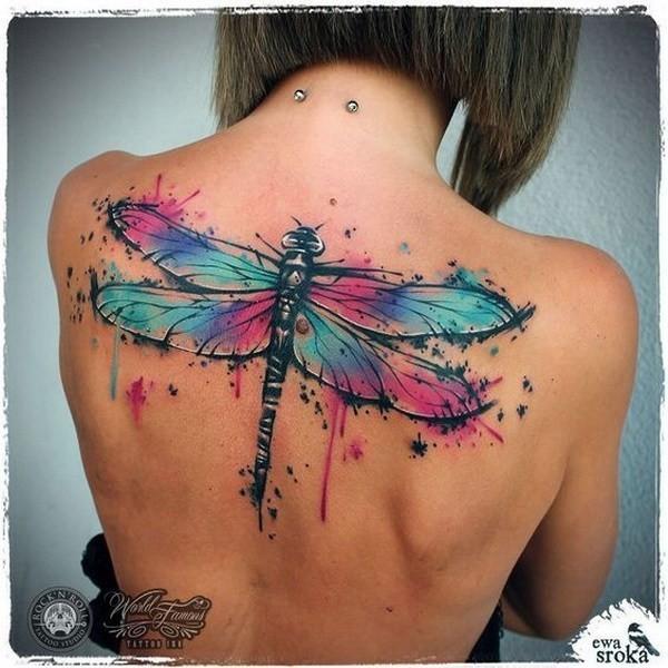Dragonfly-Back-Tattoo 60 Awesome Back Tattoo Ideas