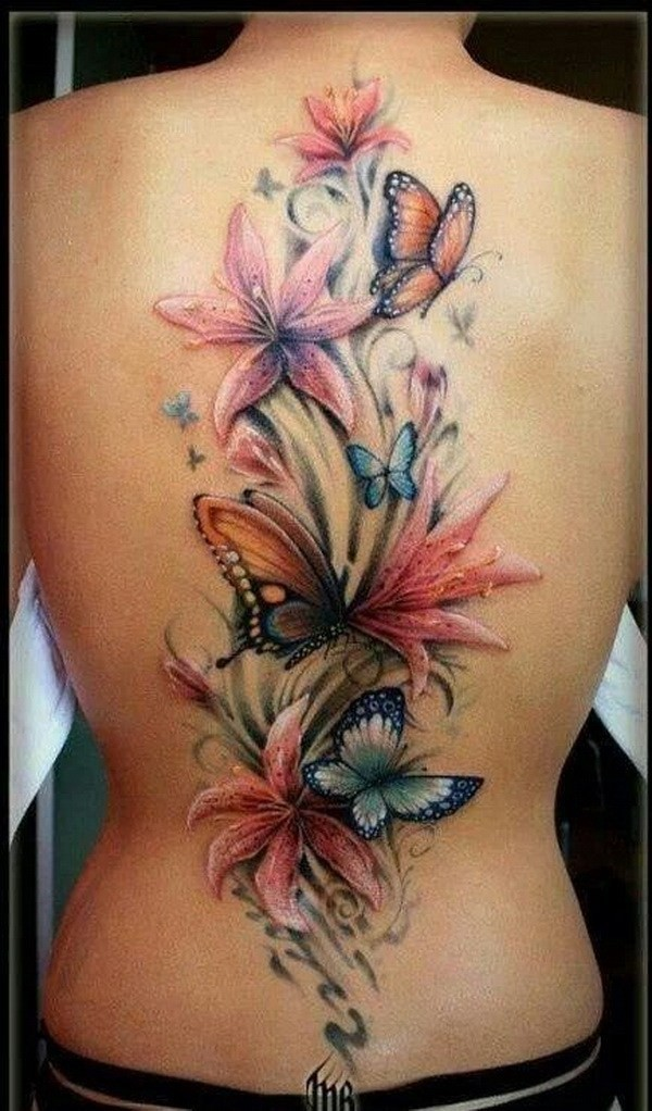 Flower-And-Butterfly-Tattoo-On-Back 60 Awesome Back Tattoo Ideas