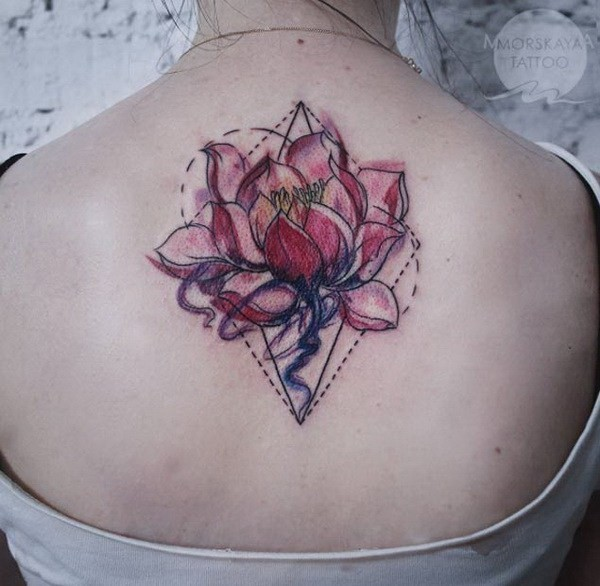 Geometric-Lotus-On-Back Pretty Flower Tattoo Ideas
