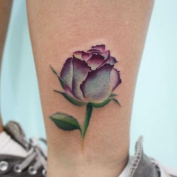 Purple-Watercolor-Rose-Tattoo Pretty Flower Tattoo Ideas