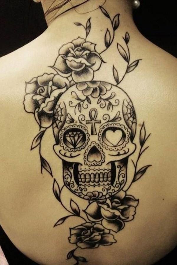 Sugar-Skull-Back-Tattoo 60 Awesome Back Tattoo Ideas