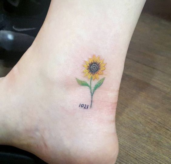 Sunflower-Ankle-Tattoo—Subtle-Delicate-And-Pretty Amazing Sunflower Tattoo Ideas