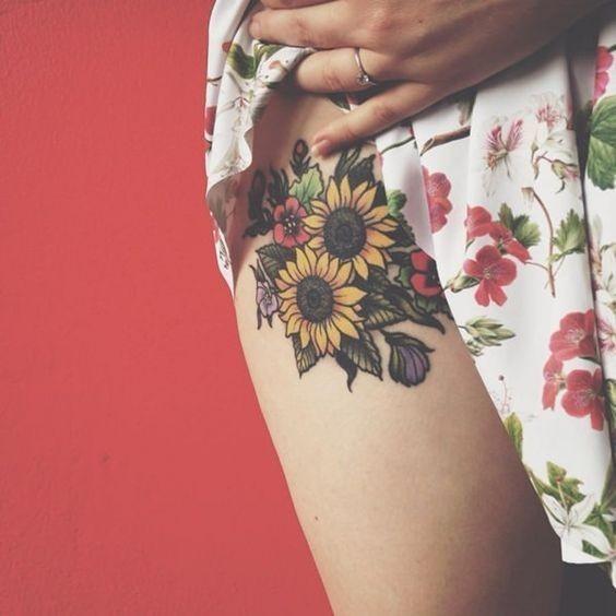 Sunflower-Tattoo-On-Hip Amazing Sunflower Tattoo Ideas