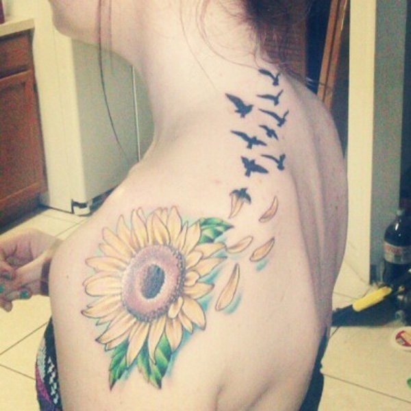 Sunflower-With-A-Row-Of-Flying-Birds-Shoulder-Tattoo-Design Amazing Sunflower Tattoo Ideas