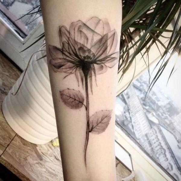 X-Ray-Rose-Tattoo Pretty Flower Tattoo Ideas