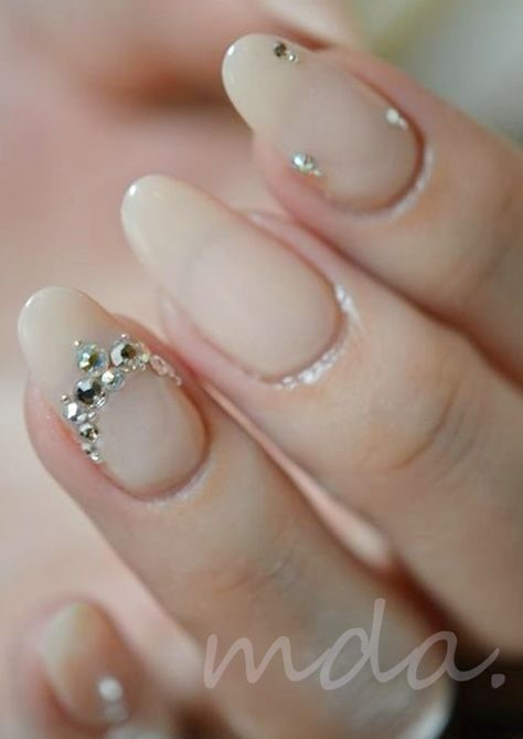 rhinestone-nails-nail-bling Wedding Nails French Rhinestones Gems They Are Totally Popular Right Now