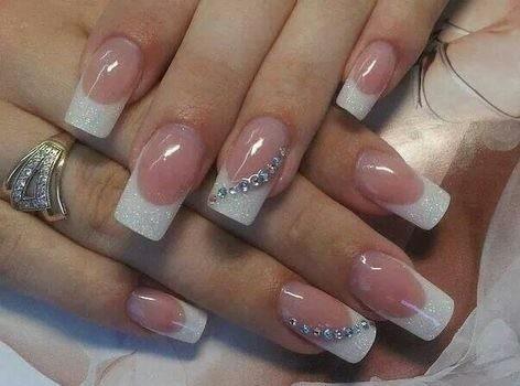 wedding-ideas-wedding-stuff Wedding Nails French Rhinestones Gems They Are Totally Popular Right Now