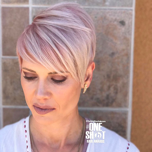 Eye-Catching-Pink-Rose-Hair-Color Beautiful Short Layered Hairstyles for Thin Hair in 2020