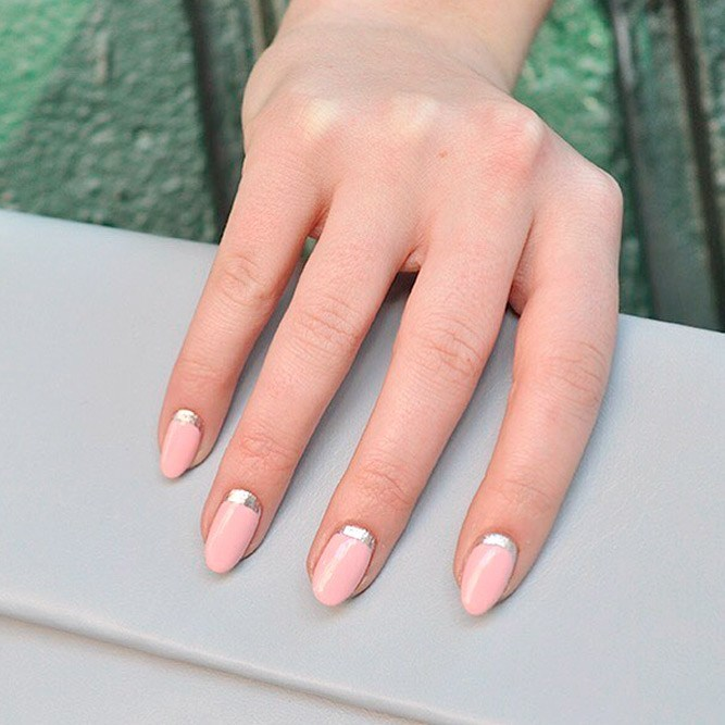 Pastel-pink-with-grey-shimmering Perfect Ideas for Pink Nails to Finish Feminine Look
