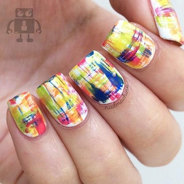 Coral-peach-abstract-nail-art-design-3 Cool Abstract Nail Art Ideas