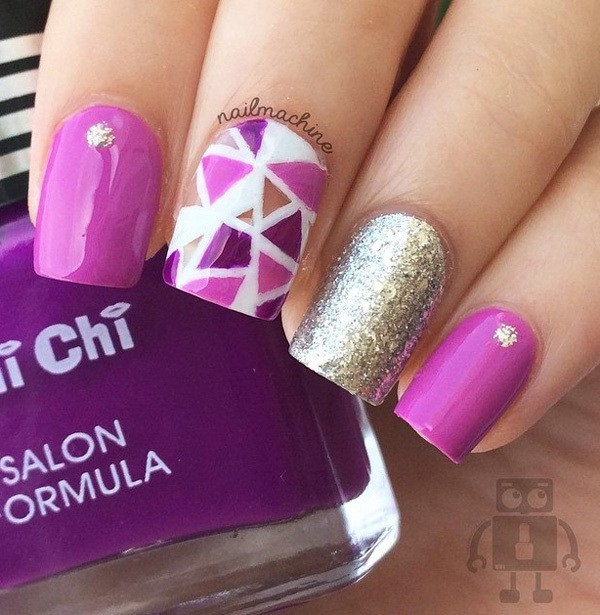 Silver-and-Purple-abstract-nail-art-design Cool Abstract Nail Art Ideas