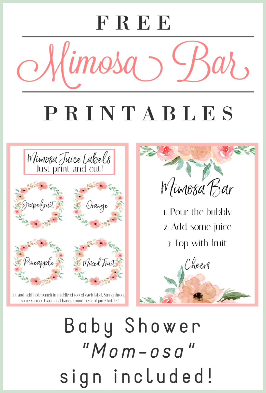 photo relating to Mimosa Bar Sign Printable Free called Do it yourself: Mimosa Bar with Absolutely free Printables! - Alysea Vega