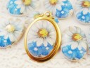 18x13 vintage daisy forget me not flower cabochons porcelain