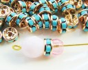 6mm turquoise rhinestone gold plate rondelle beads swarovski spacers