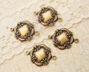 antiqued brass ox victorian floral frame connectors