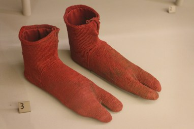 Knit socks at Victoria & Albert Museum, ca. 250-420 AD
