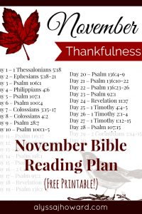 November Bible Reading Plan | alyssajhoward.com