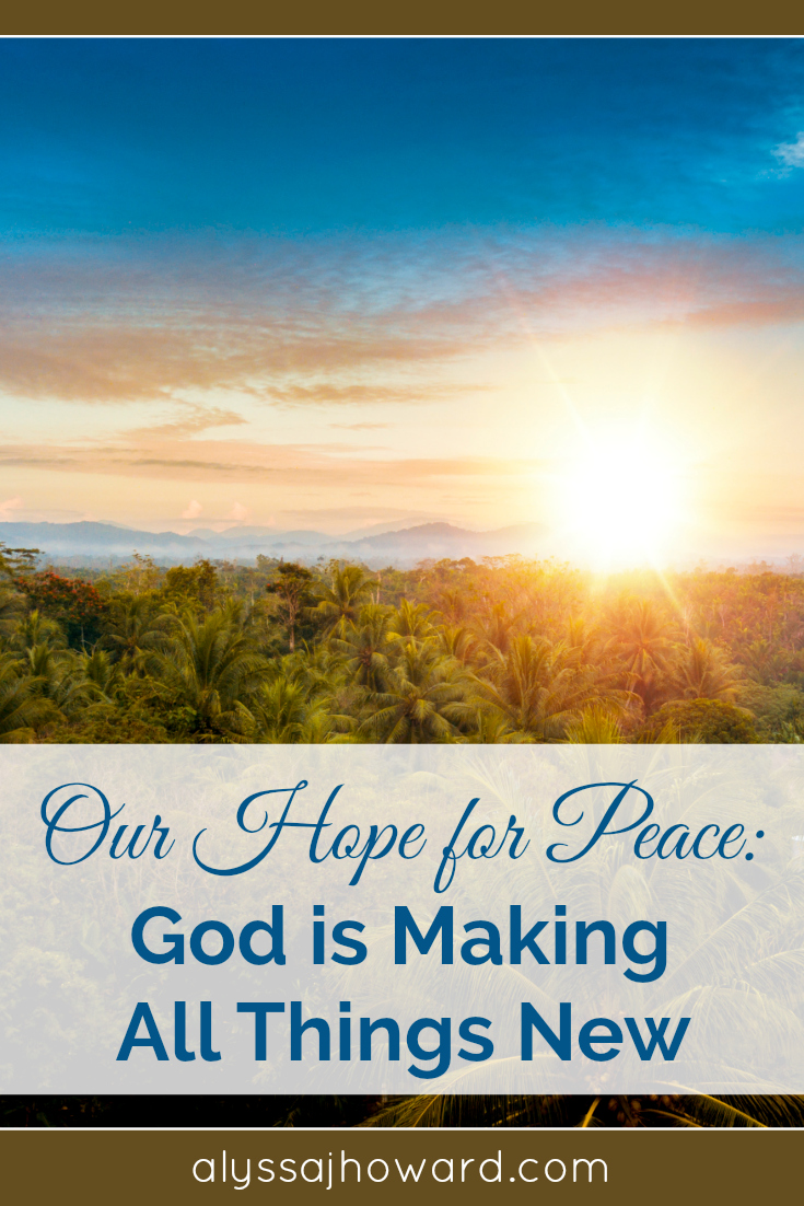 As chaotic as the world appears sometimes, we can trust that God's plan is at work through the power of the Holy Spirit. We have an amazing hope for peace! God is indeed making all things new...