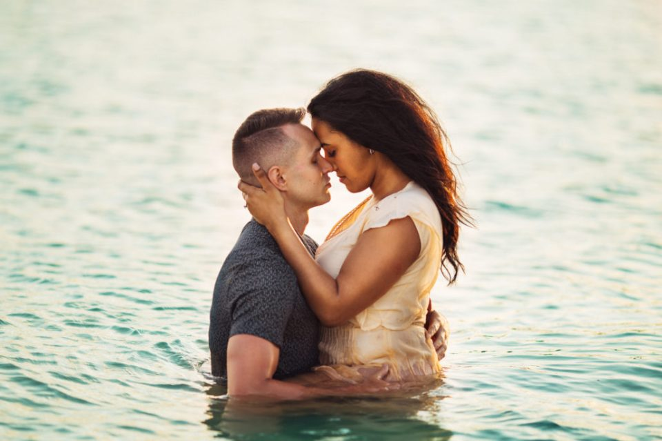 Florida Keys engagement session in the water