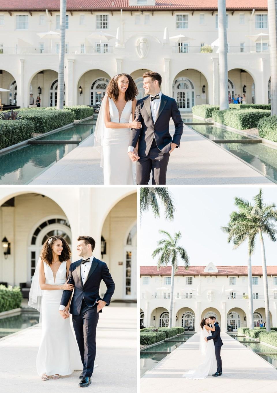 Bride and groom portraits at Waldorf Casa Marina Resort