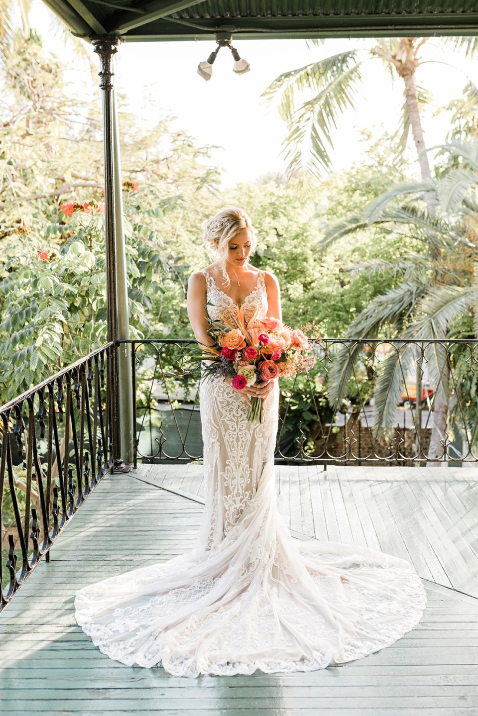 Bride in the Viola lace gown by Watters
