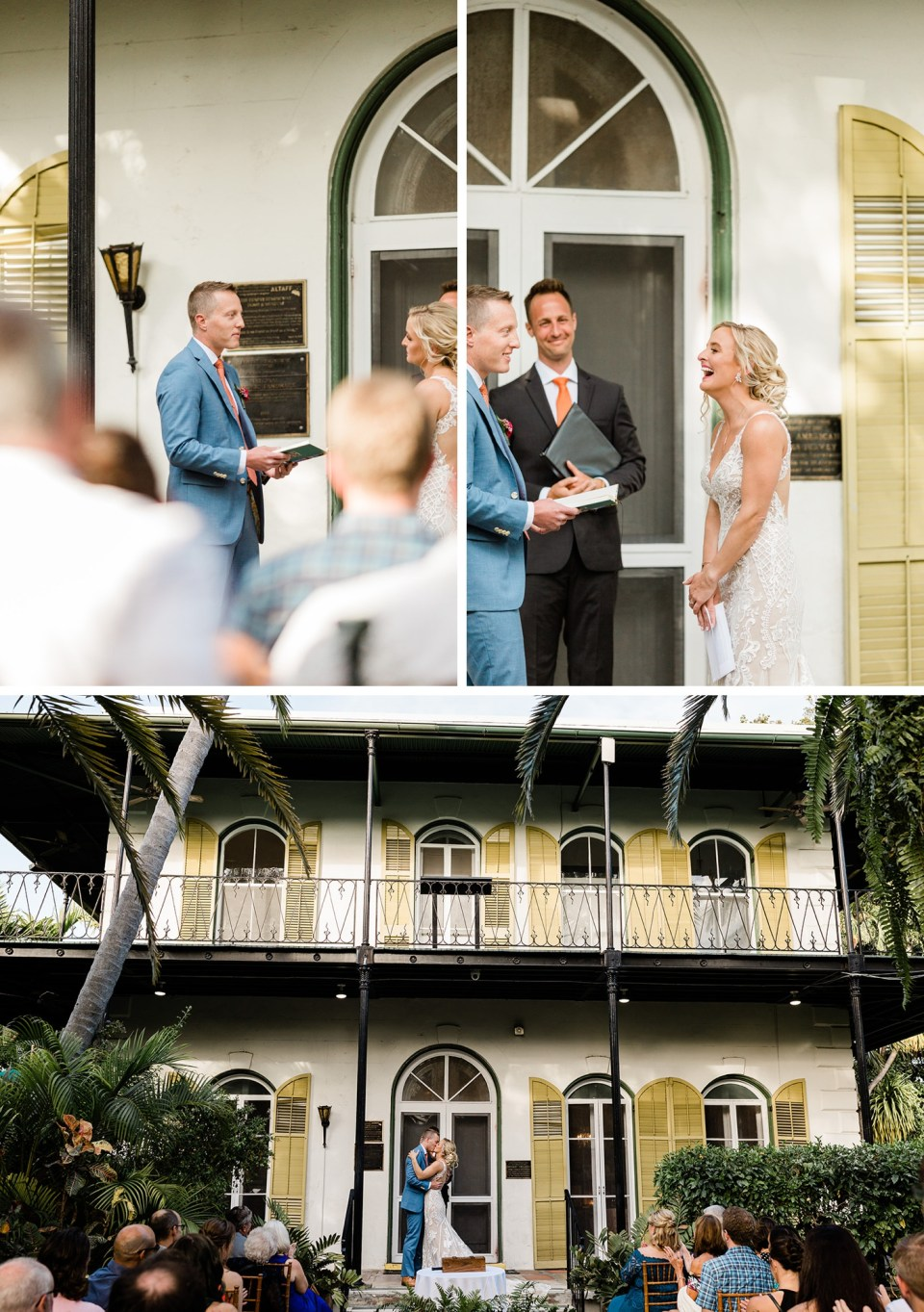 wedding ceremony at the Hemingway Home