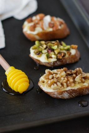 Peach Goat Cheese Crostini with Nuts & Honey
