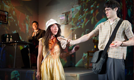 Benedict Wong (Lin), Elizabeth Chan (Liuli) and Andrew Leung (Young Lin) in Chimerica by Lucy Kirkwood at the Almeida theatre. Photograph: Tristram Kenton