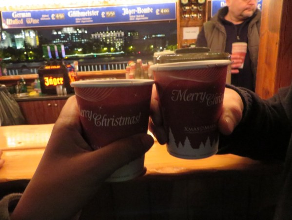 moving abroad for love, Mulled Wine, Christmas market Southbank centre, London