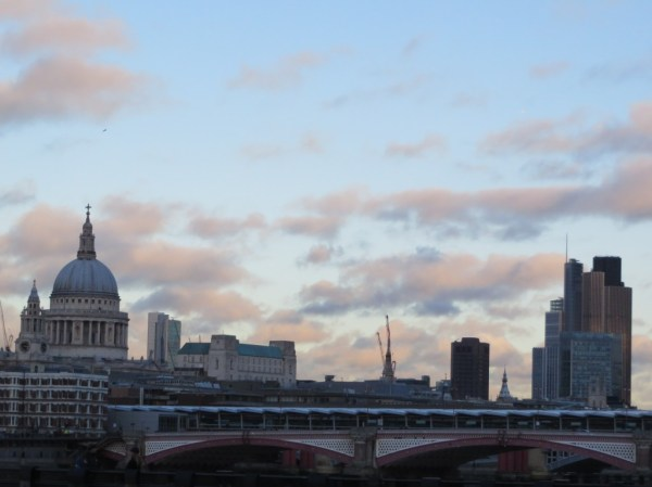 View of the City of London and St. Paul's Cathedral at sunset