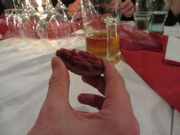 Tatarský biftek, topinky - Beef tartare with toast in Czech Republic