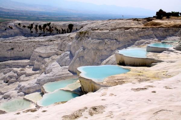 Travertine Hot Springs in Pamukkale, Turkey