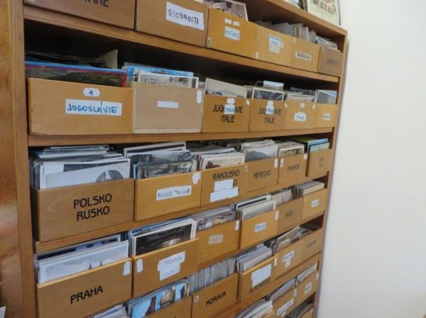 Alfafila, rows of postcards, souvenirs, Prague