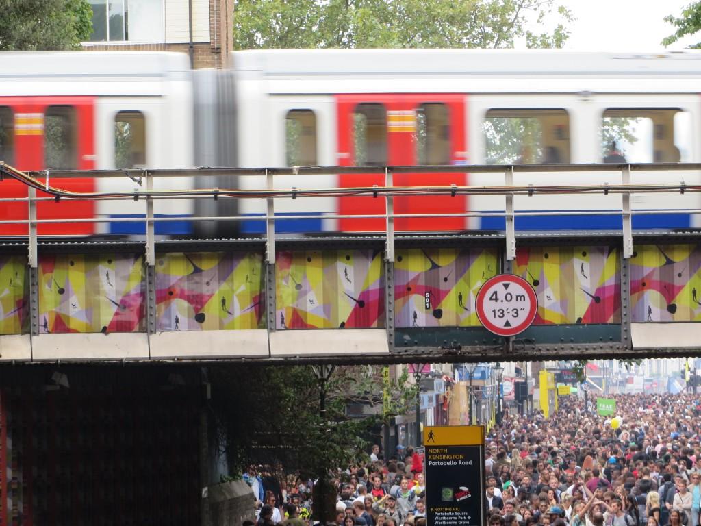 Train passing by, Portobello Road, Notting Hill Carnival 2014