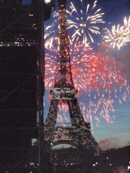 Bastille day fireworks, Eiffel Tower, Champ de Mars, Paris, all-nighter
