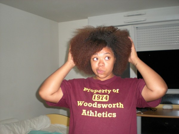 Crazy afro hairstyle