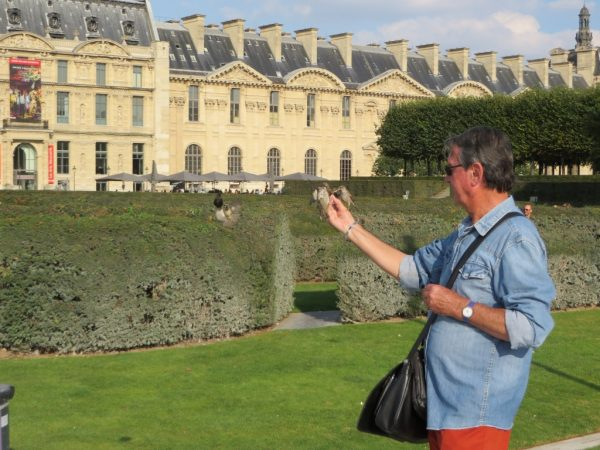man feeding birds, Jardin des Tuileries, Paris