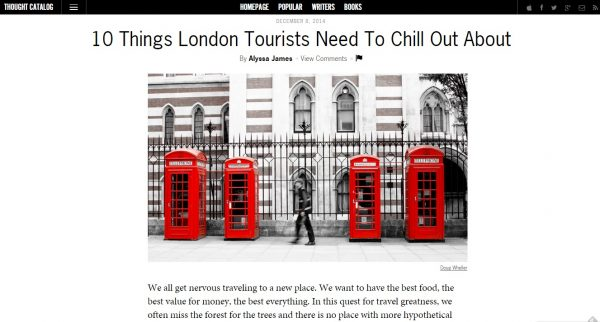 how to get published on thought catalog, london tourists, tourists in london