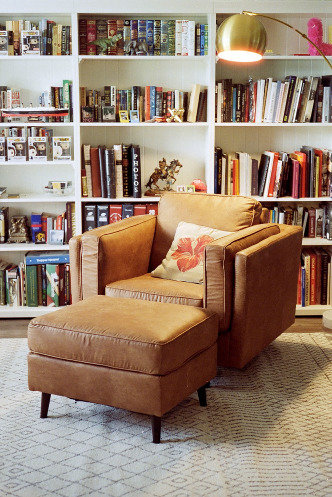 home library lamp and chair