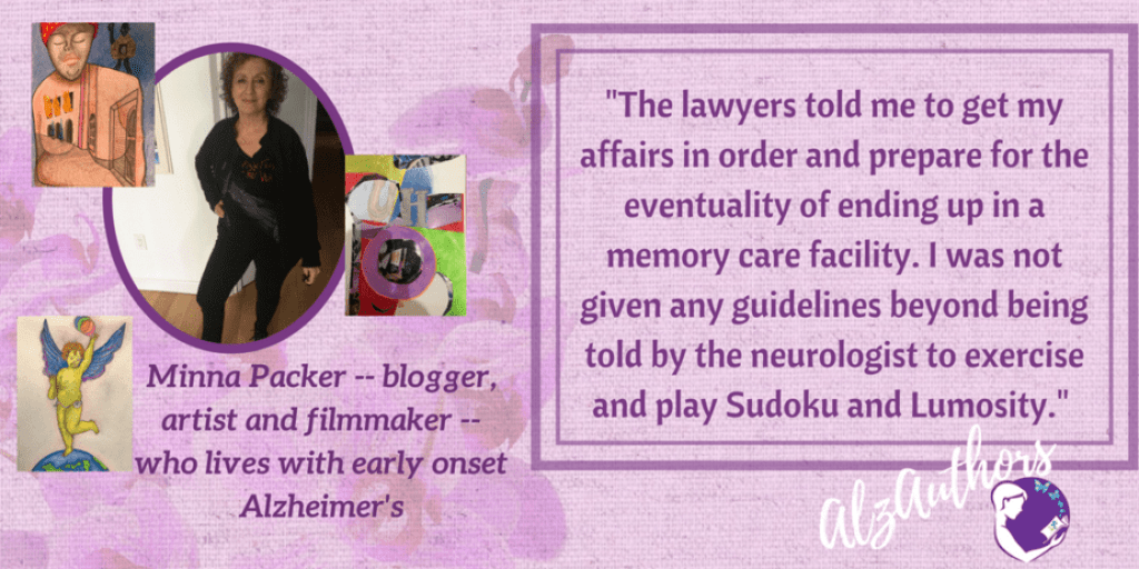 """Welcome, Minna Packer, blogger of """"Suddenly Mad: My Voyage Through Early Alzheimer's"""""""