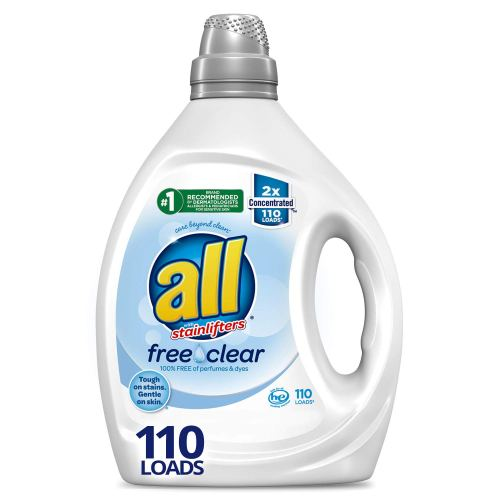 Roll over image to zoom in All Liquid Laundry Detergent, Free Clear for Sensitive Skin, 2X Concentrated, 110 Loads