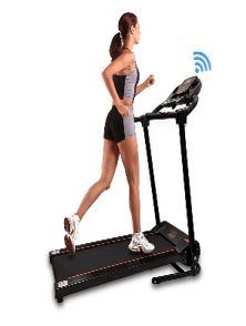 Smart Digital Folding Exercise Machine - Electric Motorized Treadmill with Downloadable Sports App for Running & Walking - Pairs to Phones, Laptops, & Tablets via Bluetooth - SereneLife SLFTRD18.