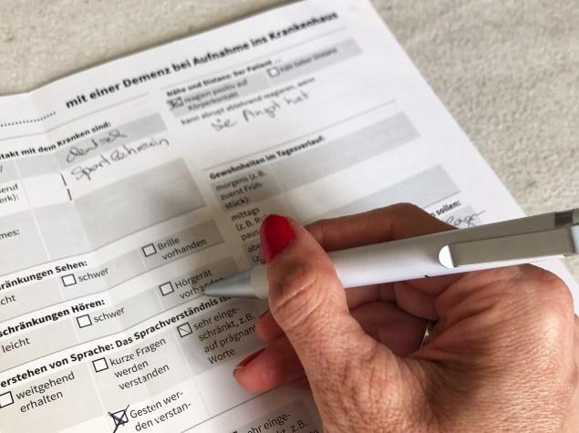 Formular Mit Demenz ins Krankenhaus