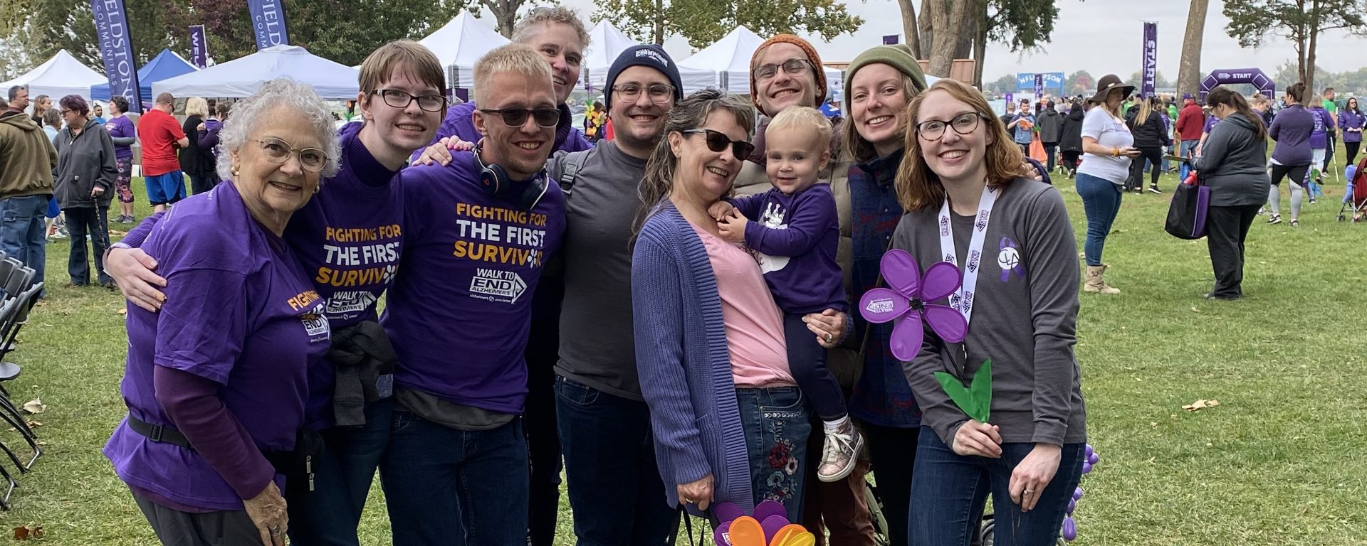 Jenni and her family at the Walk to End Alzheimers