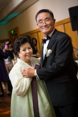 An older Korean couple dancing together