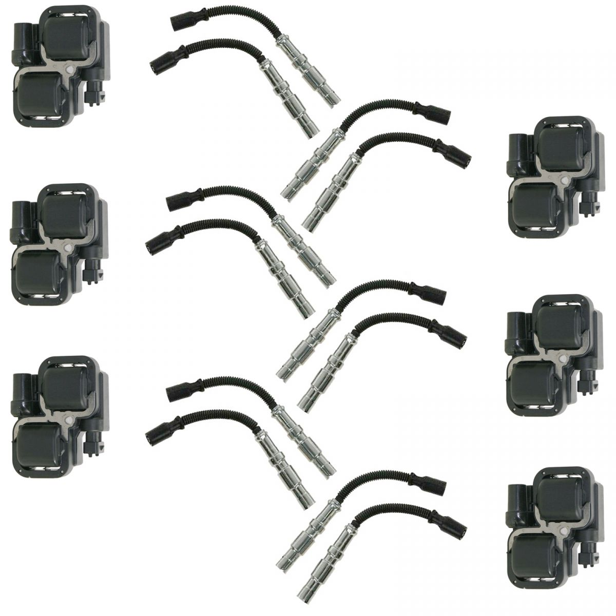 Engine Ignition Coil Amp Spark Plug Wire Kit Set For